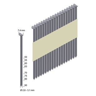 2,8 x 80 mm Rille (4000 Stück) 34° Streifennägel