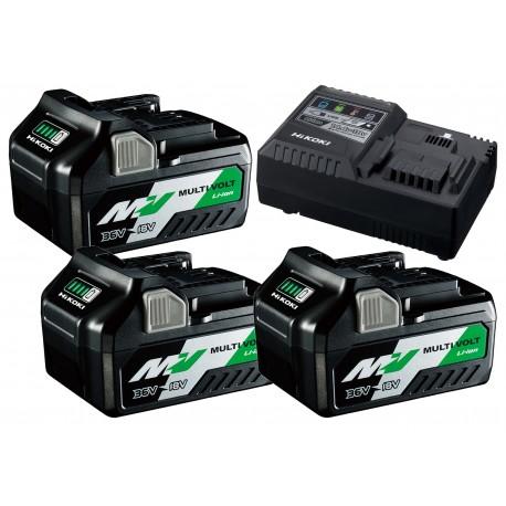HiKOKI Booster Pack ( 3 x Multi Volt Akku + 1 Ladegerät ) 2,5 / 5 Ah
